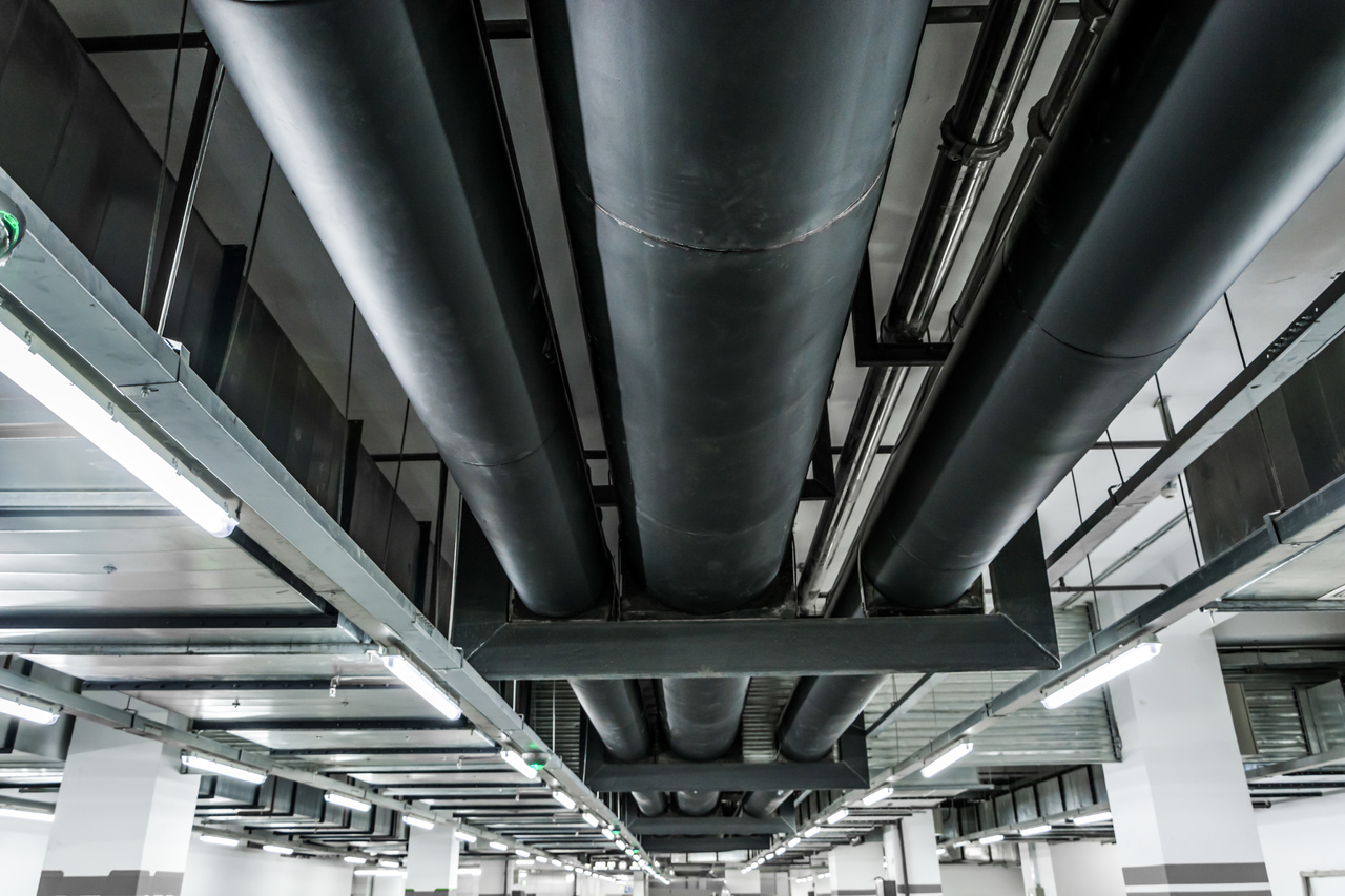 Black iron pipes installed in a facility