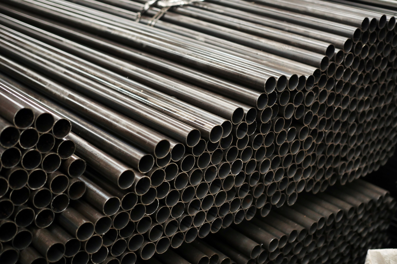 Stacks of galvanized iron pipes