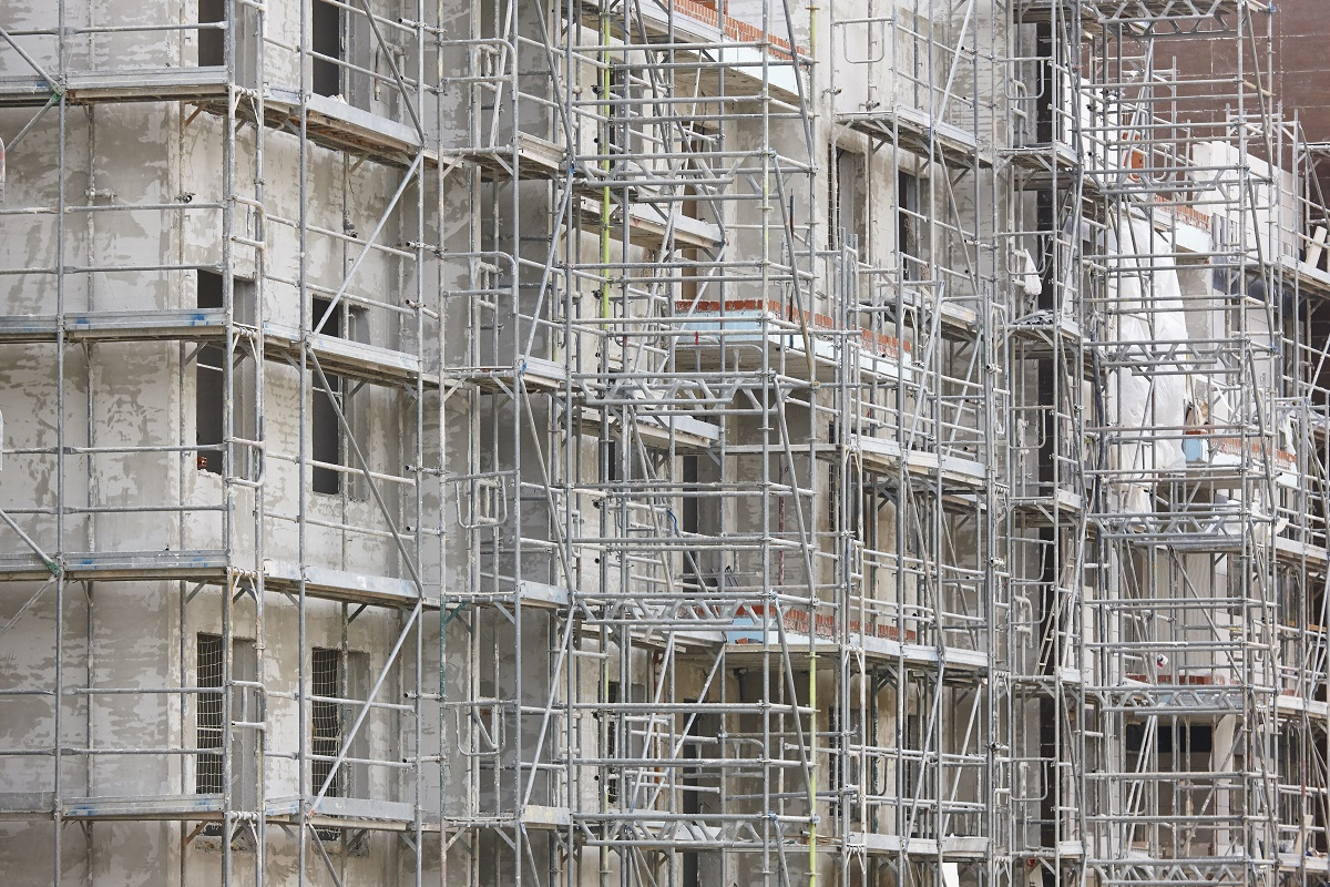 Scaffolding structure on a building. Construction architecture i