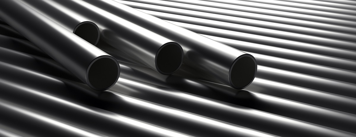Pipes tubes steel metal, round profile, stacked full background. 3d illustration