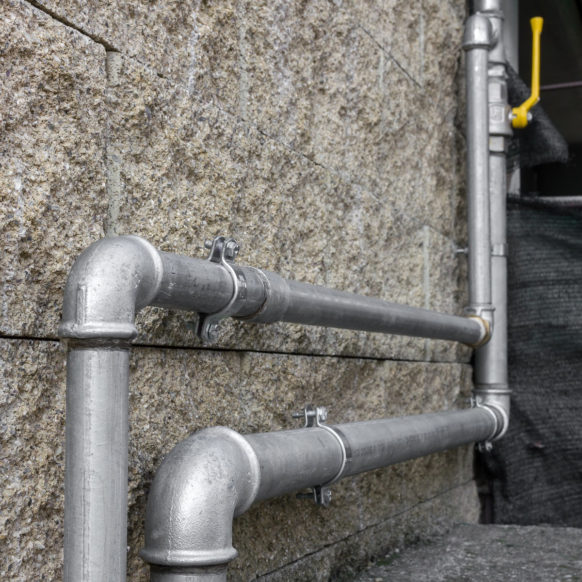 Gas pipes of a heating system